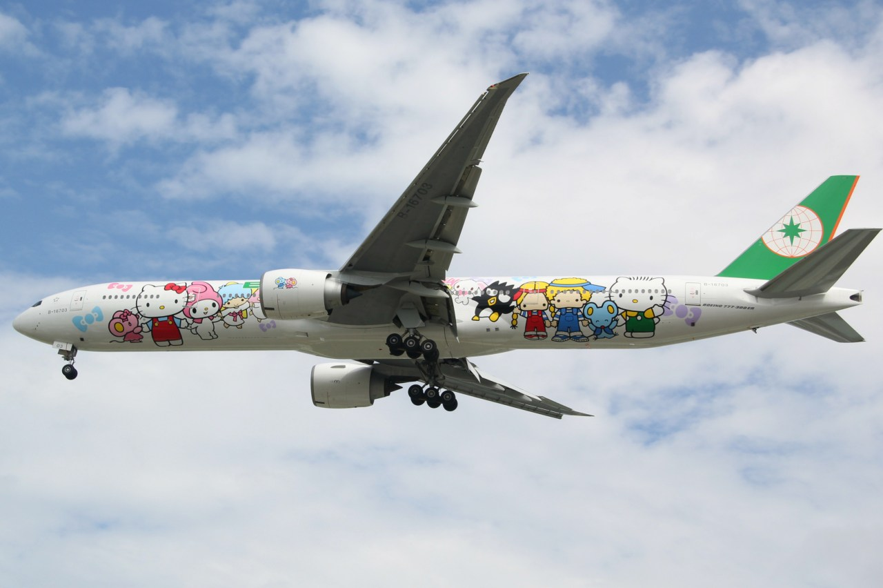 Having a Glass (Or More?) of Wine on a Hello Kitty-Themed Plane