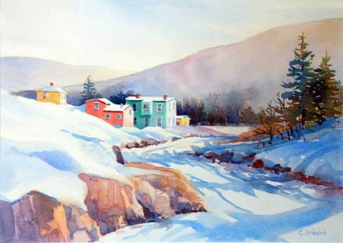 Watercolour of Tors Cove by Cathy Driedzic