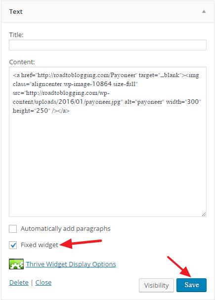 WordPress Sticky Widget