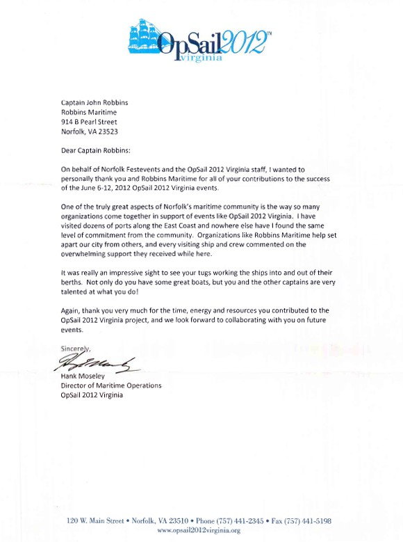 Thank You Letters \u2013 Robbins Maritime - thank you letter examples