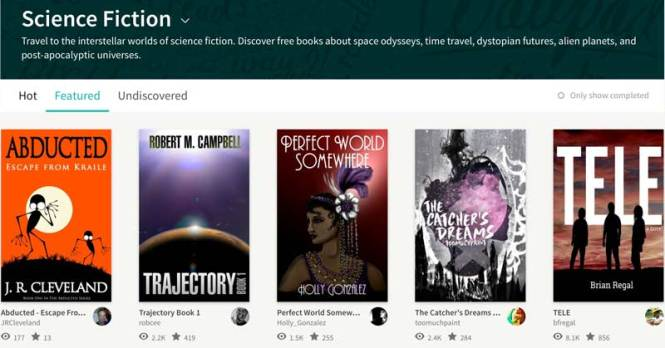 trajectory in wattpad's science fiction category, featured list.