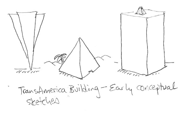 TransAmerica Pyramid: early conceptual sketches