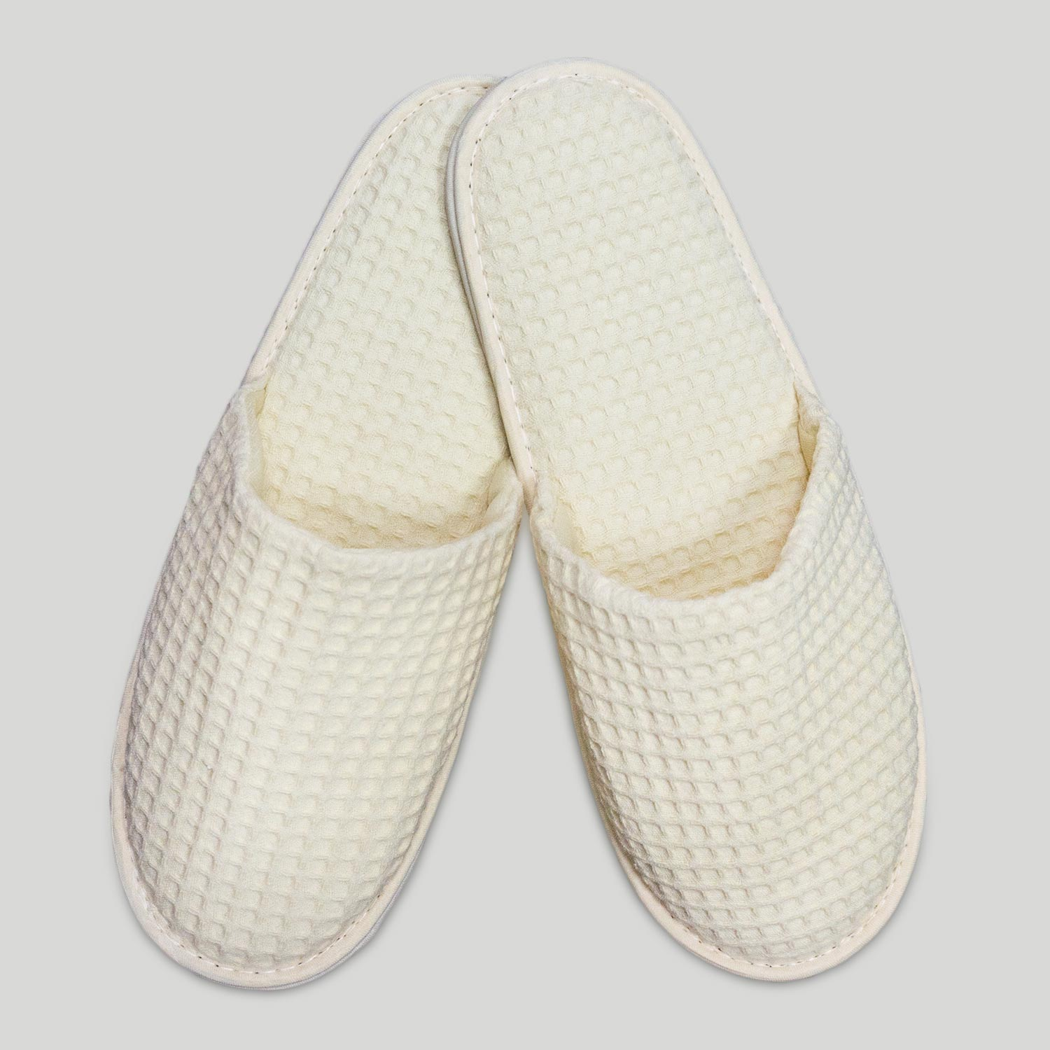 Baby Hotel Slippers Beige Closed Toe Adult Waffle Slippers
