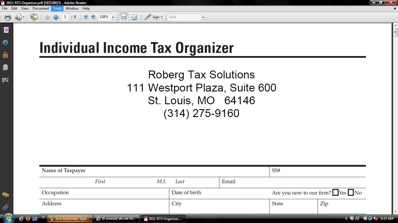 Organizer 2016 Business Tax Business Tax Organizer 2016