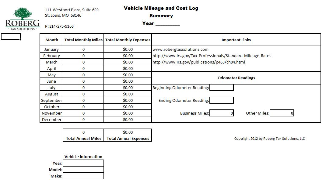example of mileage log for irs