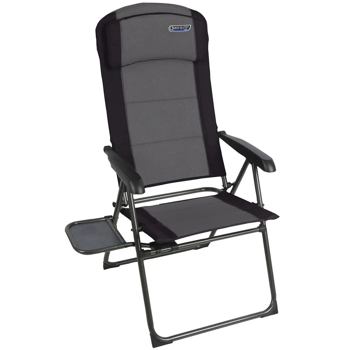 Quest Elite Ragley Padded Reclining Camping Chair With Side Table Black Robert Dyas