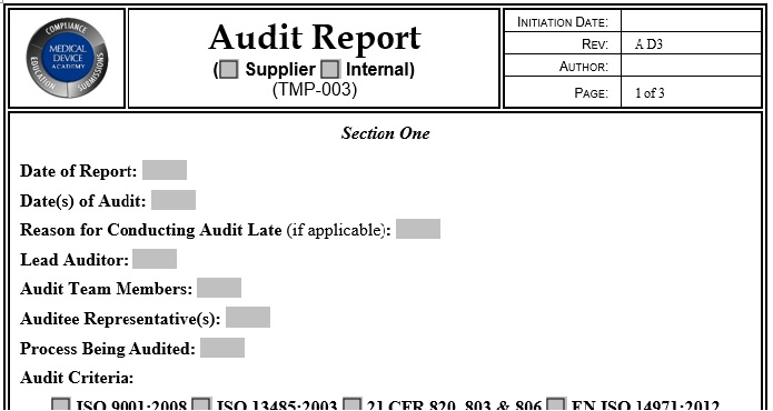 supplier auditing tool kit Medical Device Academy - audit forms templates