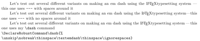 Different ways to make em dashes in LaTeX