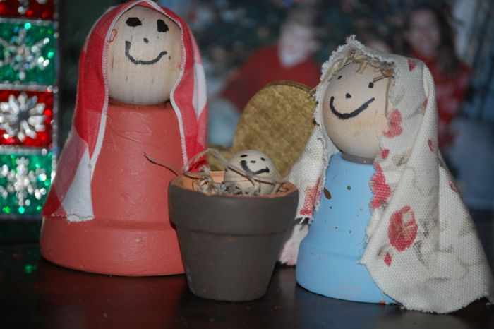 Homemade nativity with flower pots