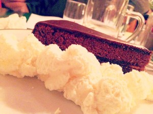 Chocolate cake and whipped cream