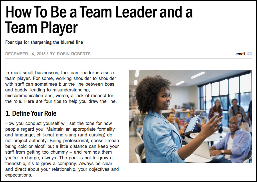 Team Leader, Team Player \u2014 Connected For Business Magazine Robin