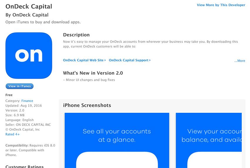 Mobile App Term Loan Renewal at OnDeck