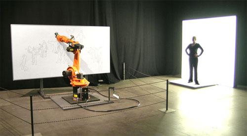 Robot Dibuja Collage Siluetas