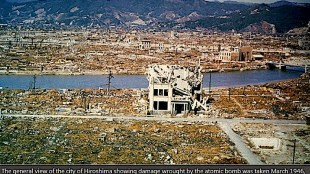 General view of the city of Hiroshima after the bomb was dropped August 6, 1945 (foto Reuters)