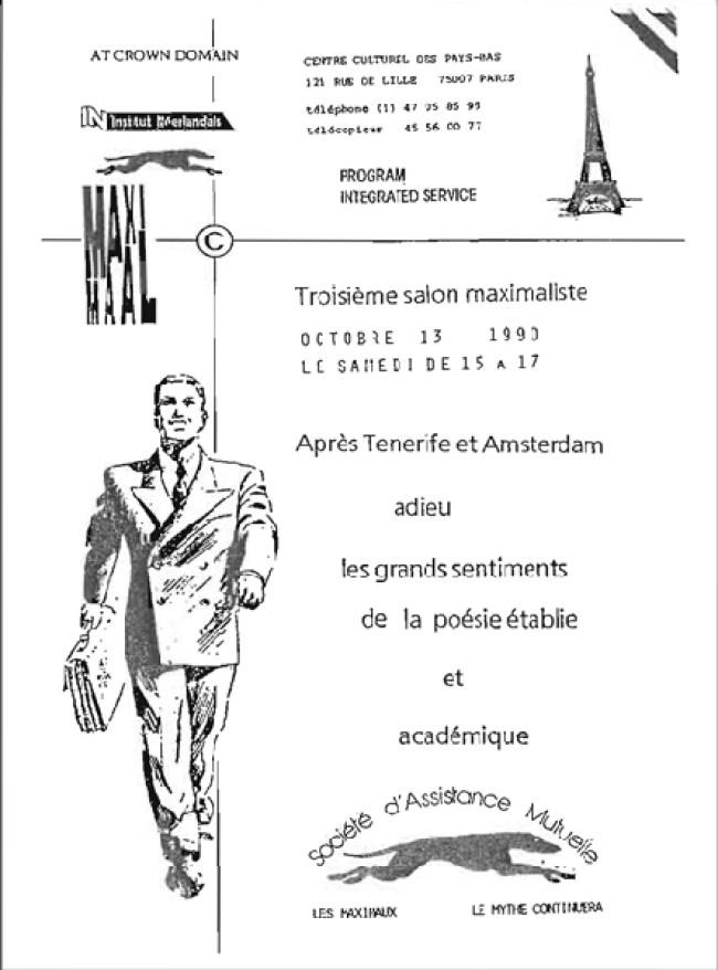 Uitnodiging voor de derde Maximale salon, Parijs 1990