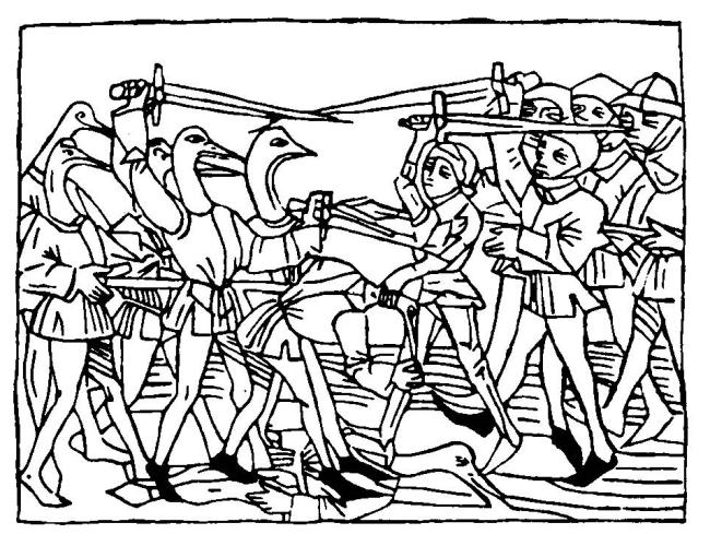 Hertog Ernst en zijn mannen in gevecht met de kraanvogelhalzen van Grippia., druk Anton Sorg, Augsburg 1476 (uit Strijbosch, p. 101)