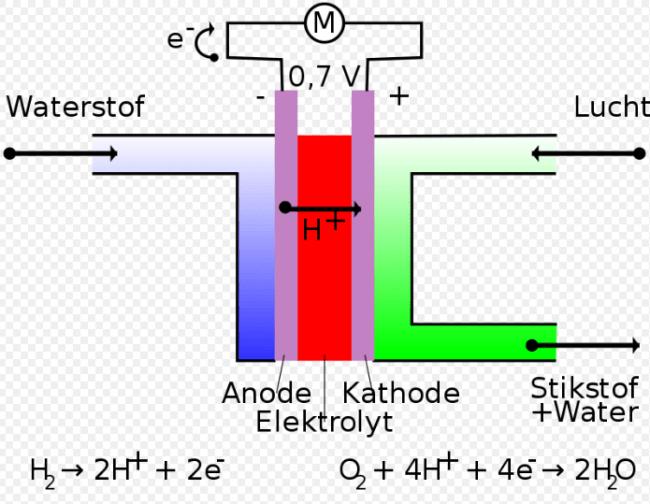 Een brandstofcel bestaat uit een poreuze anode en kathode met daartussen een elektrolytlaag (foto Wikipedia)