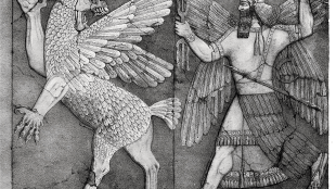 Ninurta with his thunderbolts pursues Anzû, who has stolen the Tablet of Destinies from Enlil's sanctuary (foto Wikipedia)