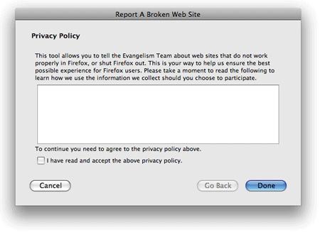 Privacy dialog