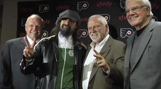 "ob ""Hound Dog"" Kelly, RZ, Bernie Parent and Gary Dornhoefer"