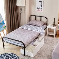 Twin Size Bed Frame with Headboard and Stable Metal Slats