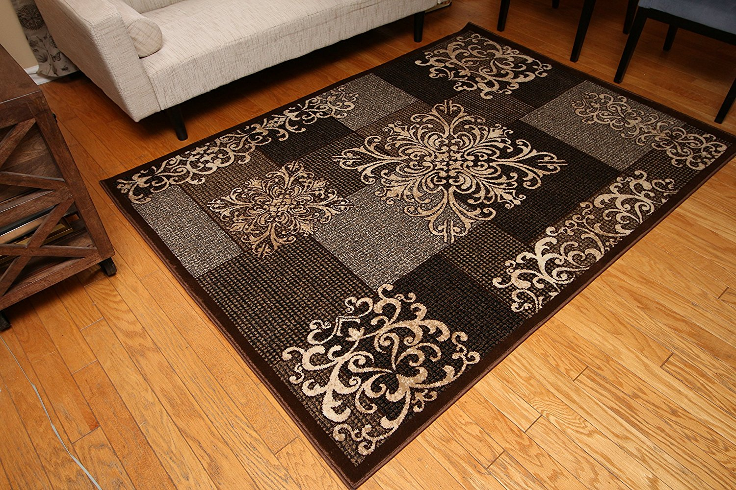 Contemporary Modern Flowers Wool Area Rug 2 X 7 Brown