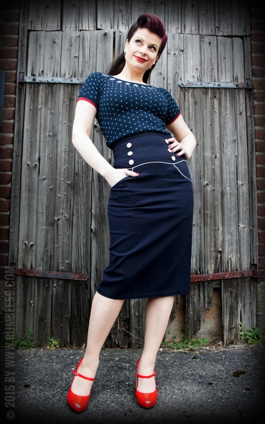 Dekoration Bücher High Waisted Pencil Skirt Ahoi Sailor | 50s Pin Up Style