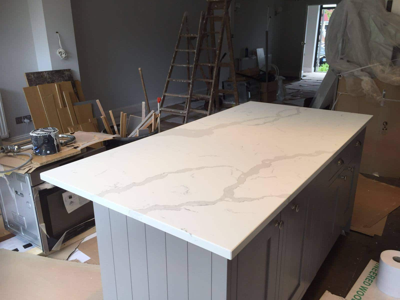 Island Kitchen Menu Calacutta Urban Quartz - Rock And Co Granite Ltd