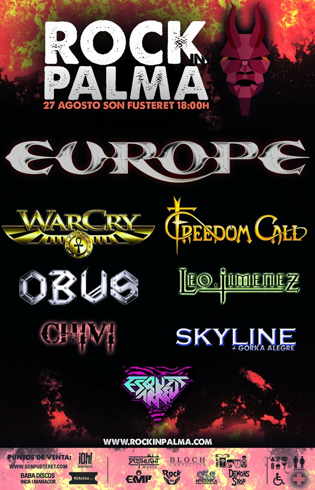 ROCK IN PALMA 2016 – EUROPE cabeza de cartel