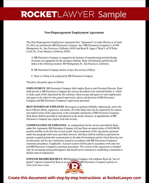 Standard Employment Agreement Template Employment Agreement Template Hr  Council Non Disparagement Agreement Employment Agreement Form
