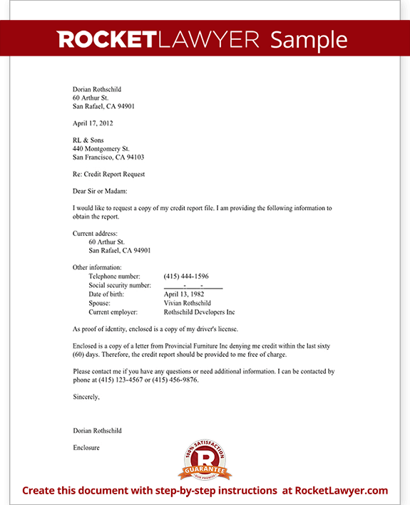 Letter To Request A Credit Report Template With Sample