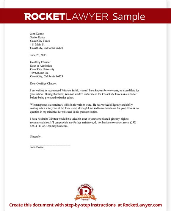 Doc12401754 Reference Letter Sample for Employee Employee – Microsoft Letter of Recommendation Template