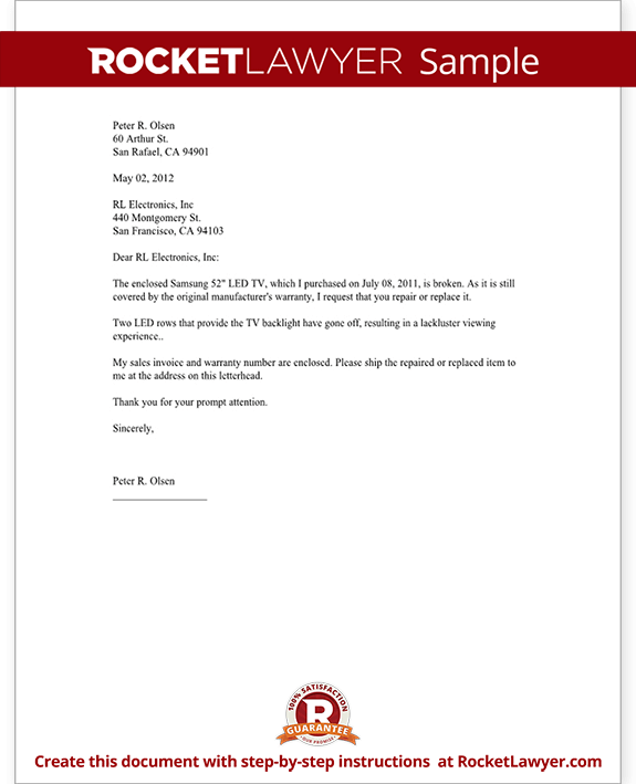 Sample Business Letters And Forms 4hb Warranty Repair Request Letter Create A Free Template