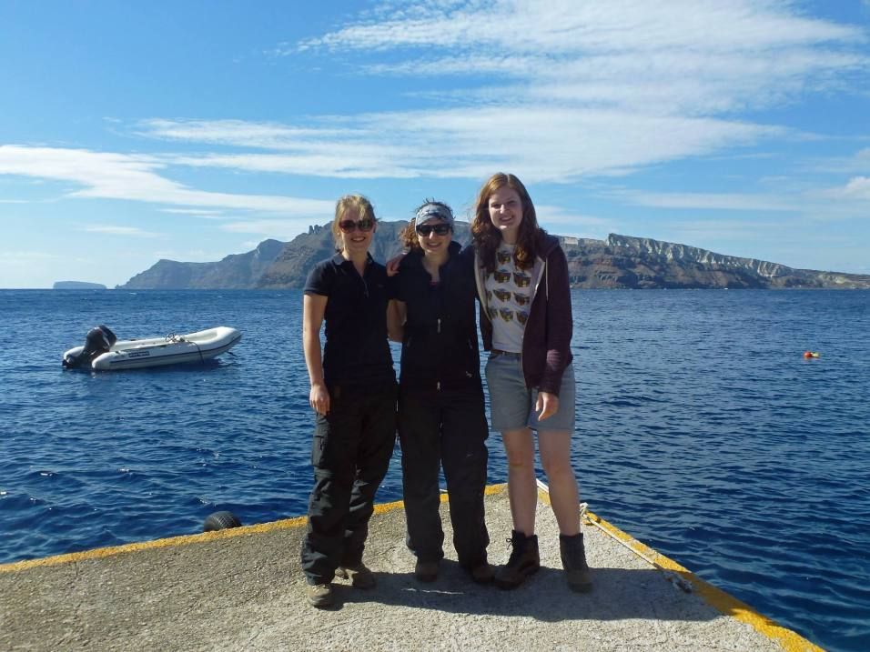Myself (centre) and friends Victoria and Ruth on a field trip looking at volcanic processes in Santorini, Greece. Photo credit: Ruth Amey