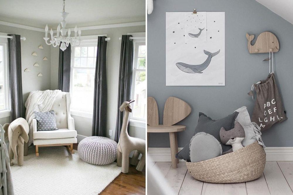 Modern Nursery Wallpaper Girl Stylish Pale Grey Wood And White Unisex Nursery Inspiration