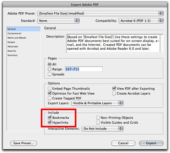 Adobe InDesign Adding Bookmarks for Adobe Acrobat - Rocky Mountain - bookmark size