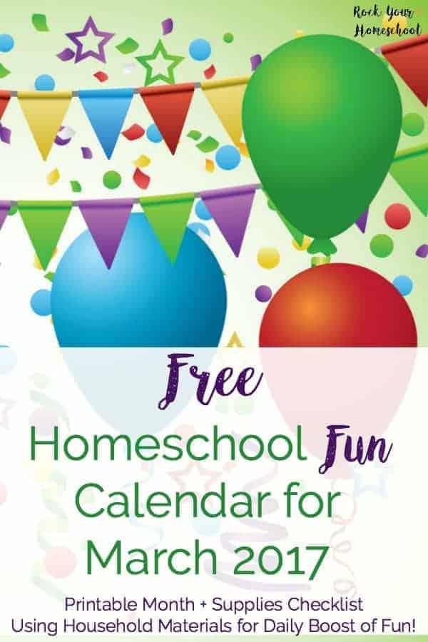 FREE Homeschool Fun Calendar for March 2017 - Rock Your Homeschool