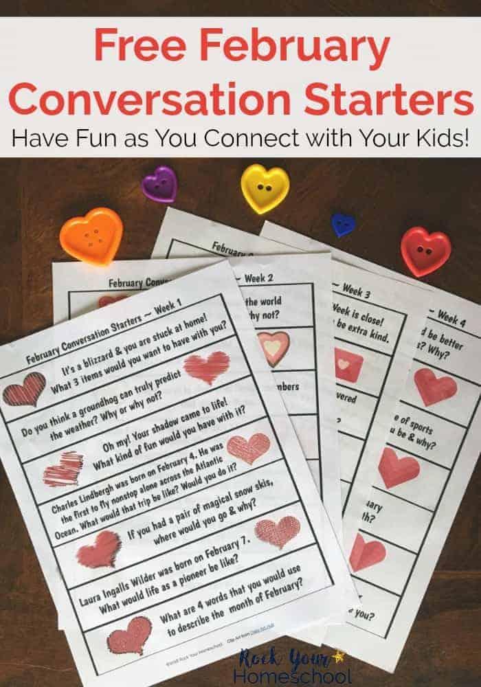 Free February Conversation Starters for Easy Homeschool Fun - Rock