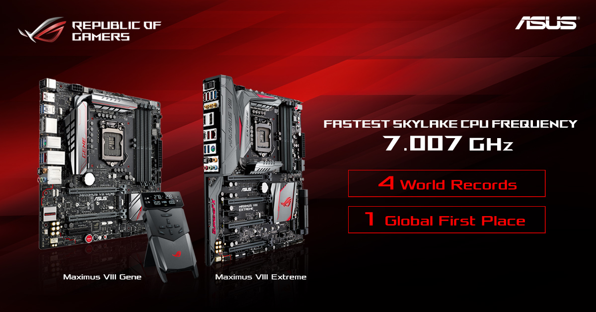 Asus Gaming Pc Fastest Skylake Cpu Frequency 7007.85 Mhz On Maximus Viii