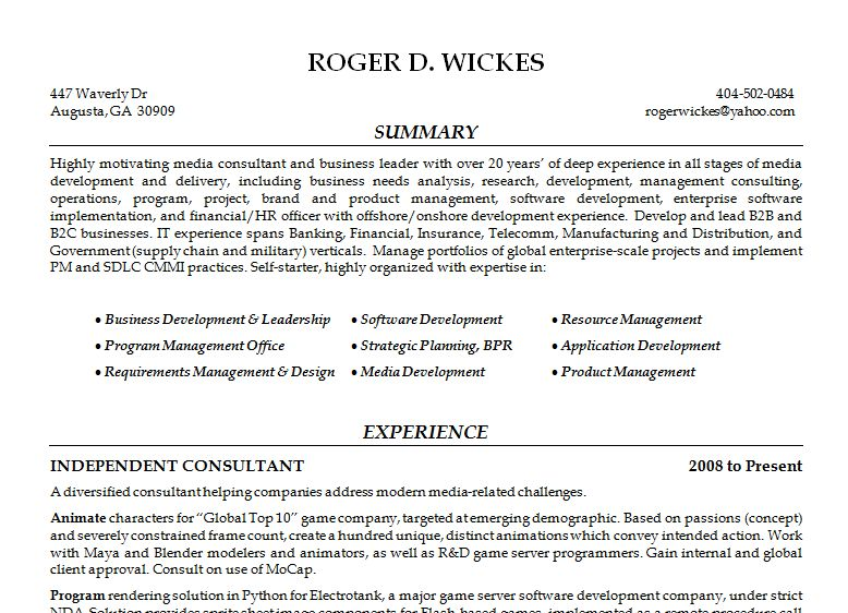 General Resume  Roger Wickes, Creative Software Solutions - General Resume