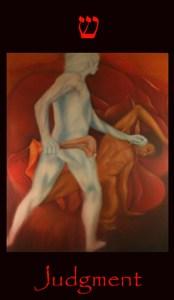 Major arcana tarot card Judgment. Symbolical of Cain and Abel