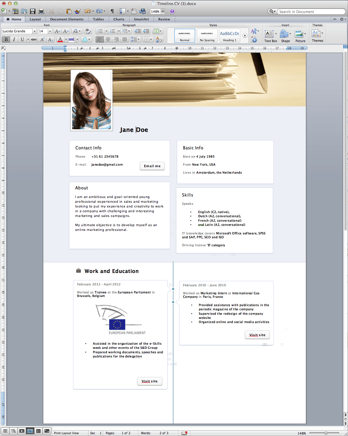 Cv Template South Africa 2014 Httpwebdesign14 Facebook Timeline Resume Template Word Free 187; Rogier Trimpe