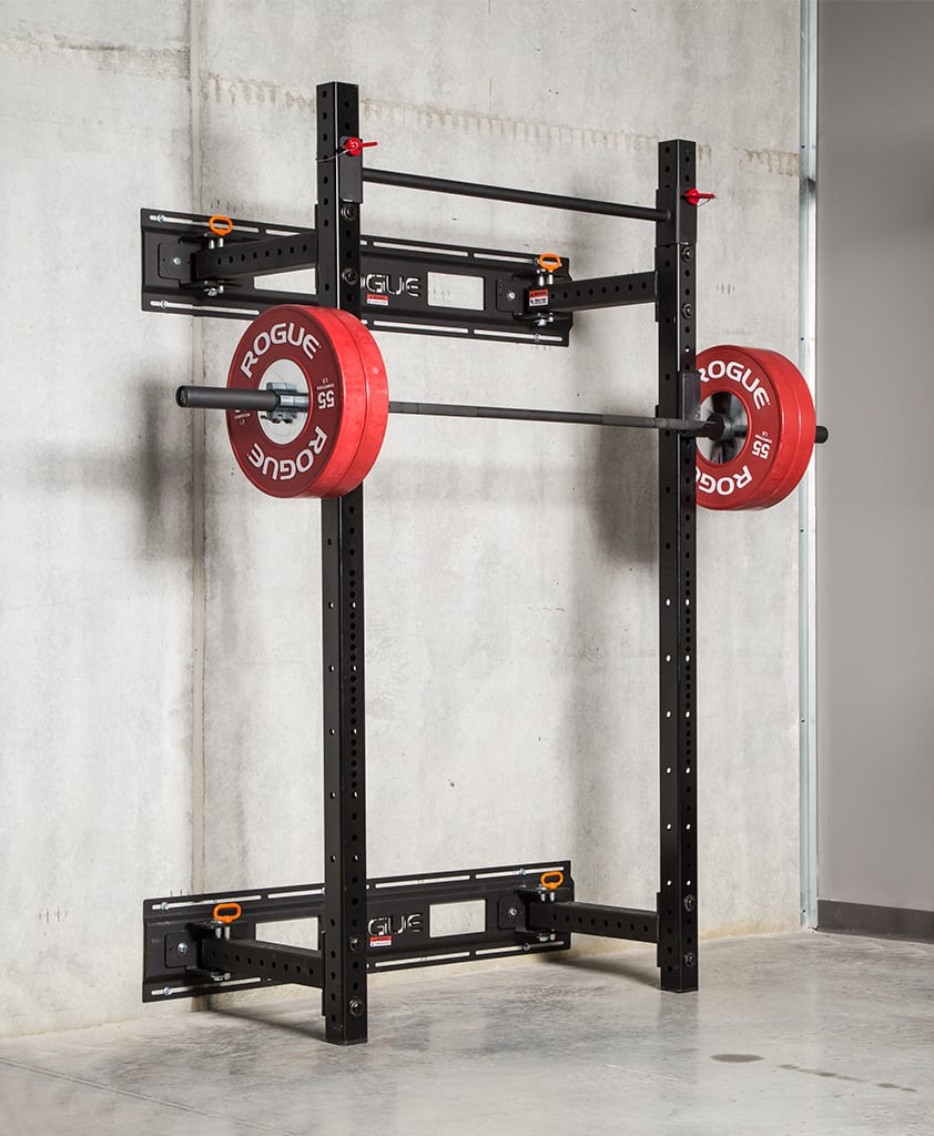 Garage Gym Half Rack Rogue Rml 3wc Fold Back Wall Mount Rack