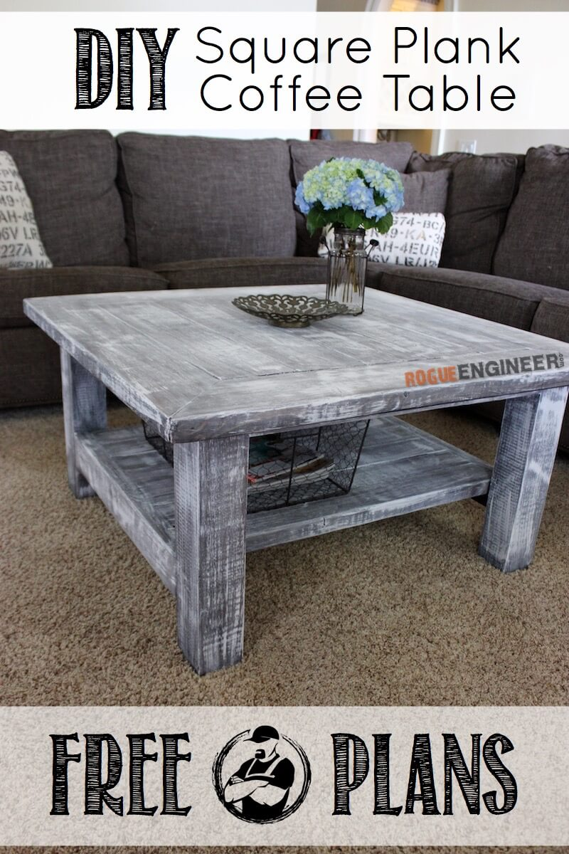Couchtisch Square Square Coffee Table W/ Planked Top { Free Diy Plans }