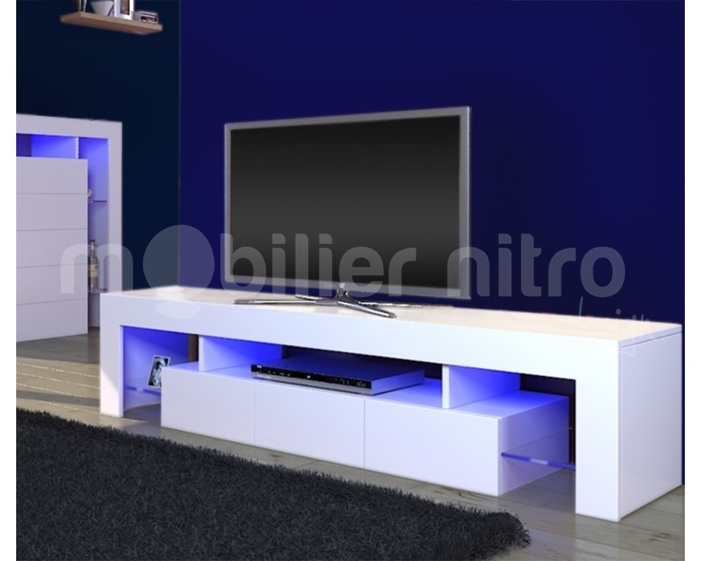 Meuble Tv Laque Led Clair Led Cuisine Chambre Chaussures Blanc Fly