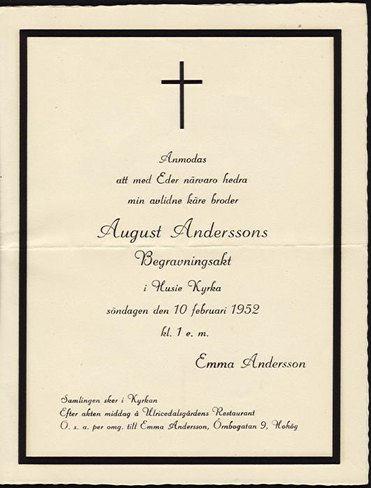 August Andersson\u0027s Funeral Invitation