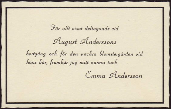 Thank You Card sent out after August Anderssonu0027s Funeral - funeral thank you note