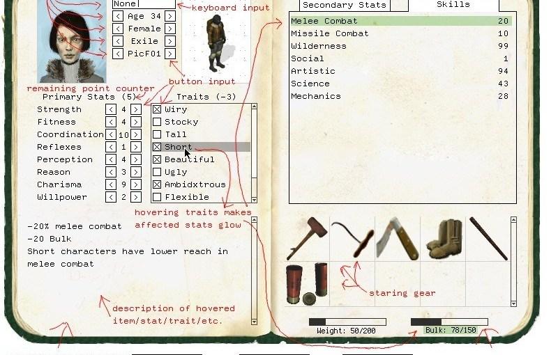 Screenshot of ho hum character sheet