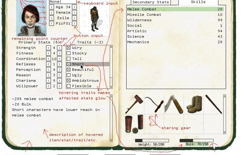 Screenshot of ho hum character sheet