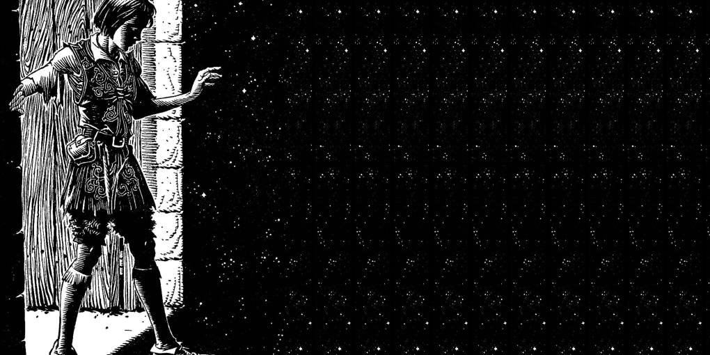 Boy walking through magic portal into space